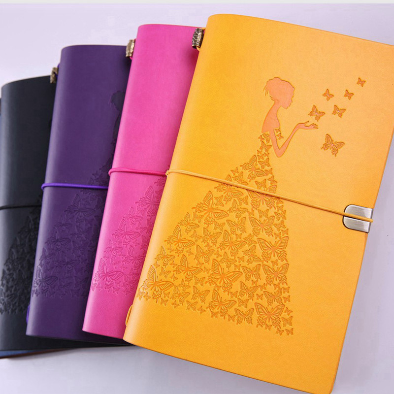 Pretty Lady Vintage Travelers Notebook Diary Notepad PU Leather Literature Note Book Paper Journal Planners School Stationery