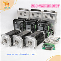 Free ship to EU!3Axis CNC KIT Nema 34 Stepper Motor WT86STH118 6004A 1232oz in 5.6A +Driver DQ860MA 80V 7.6A ROHS CE ISO