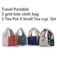 Tea Set Travel Portable Cloth Storage Bag Thicken Tote 1 Tea Pot 4 Tea cup Set Cloth Bag Handmade Cotton Linen 5 grid Bag 1pcs