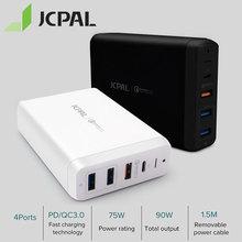 JCPAL type-C PD зарядное устройство 60W 20 V/3A настольное зарядное устройство для ноутбука USB быстрое зарядное устройство 18W 9 V/2A QC3.0 USB-A портами