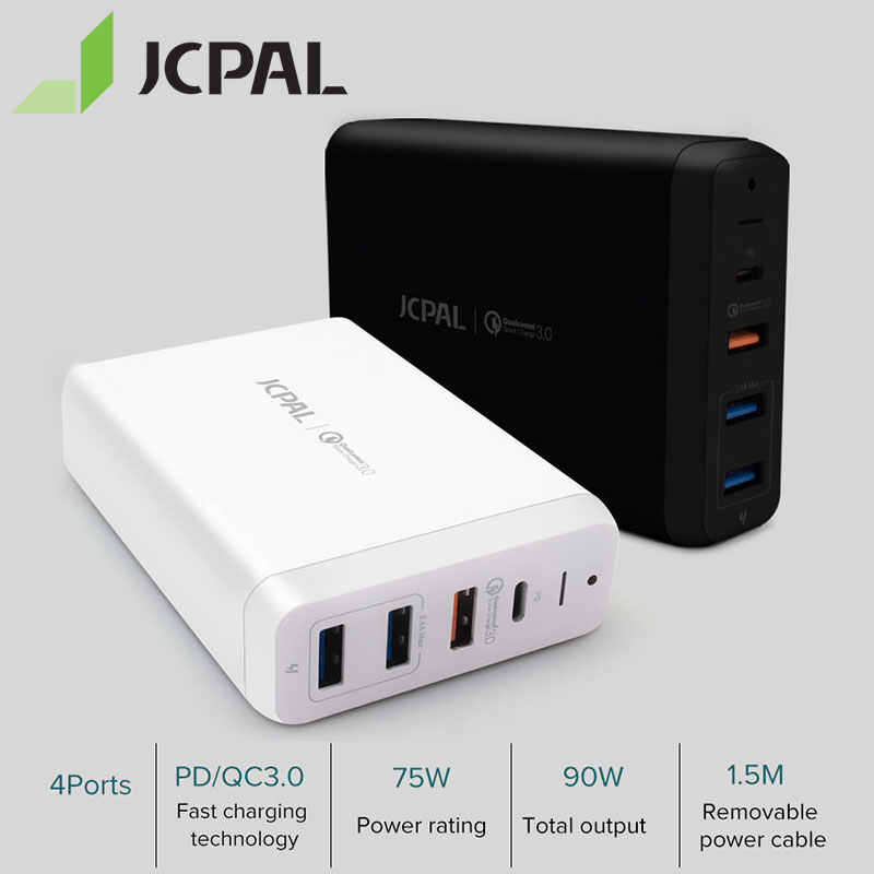 Jcpal USB-C PD Charger 60W Desktop Charger Laptop 60W Tipe-C Power Pengiriman Port 18W QC3.0 port Dual USB-A Port
