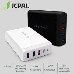 JCPAL Typ-C PD Ladegerät 60W 20 V/3A Desktop Laptop Ladegerät USB Schnell Ladegerät 18W 9 V/2A QC3.0 USB-A Ports