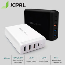 JCPAL Type C PD Charger 60W 20V/3A Desktop Laptop Charger USB Quick Charger 18W 9V/2A QC3.0 USB A Ports