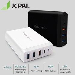 JCPAL Type-C PD Charger 60W 20V/3A Desktop Laptop Charger USB Quick Charger 18W 9V/2A QC3.0 USB-A Ports