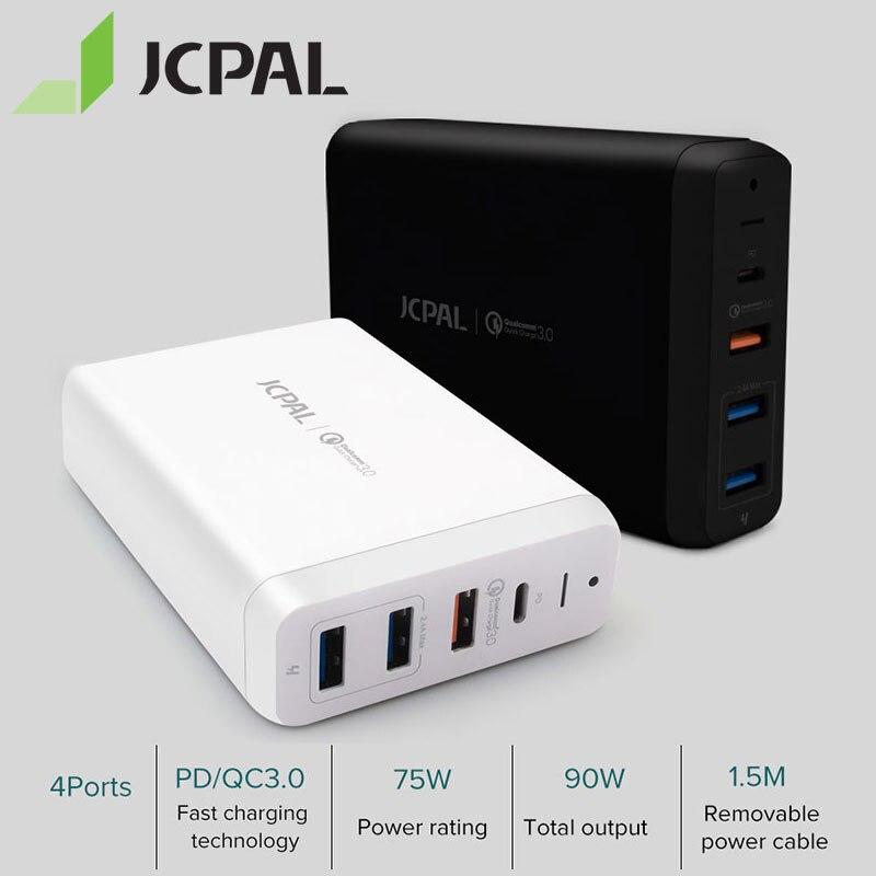 JCPAL USB-C PD Carregador 60W 60W Tipo Desktop Carregador Portátil-C Poder De Entrega Porta 18W QC3.0 porta Dupla Portas USB-A
