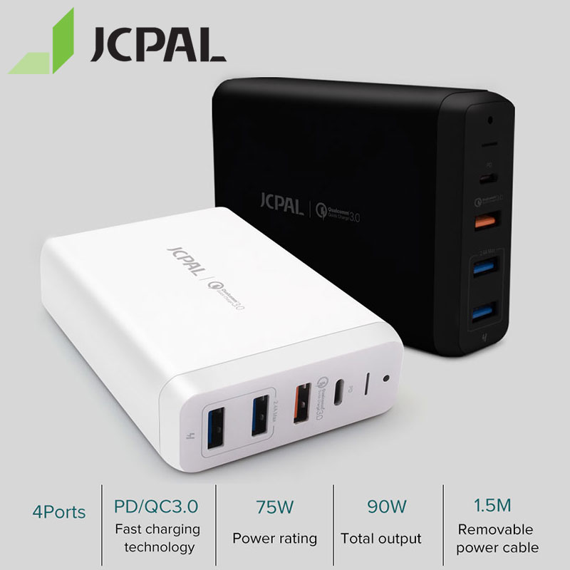 JCPAL USB-C PD Charger 60W Desktop Laptop Type-C Power Delivery Port 18W QC3.0 Dual USB-A Ports