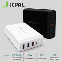 JCPAL USB C PD Charger 60W Desktop Laptop Charger 60W Type C Power Delivery Port 18W QC3.0 Port Dual USB A Ports
