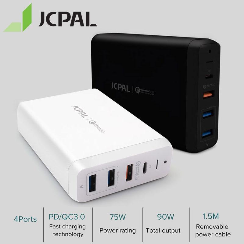 Jcpal USB-C pd carregador 60 w desktop portátil carregador 60 w tipo-c porta de entrega de energia 18 w qc3.0 porto duplo USB-A portas