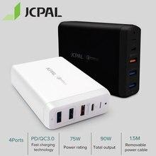 Jcpal tipo c pd carregador 60w 20v/3a desktop carregador portátil usb carregador rápido 18w 9v/2a qc3.0 USB A portas