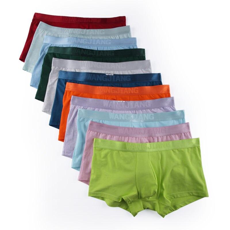 11 Pcs/Lot en gros sous-vêtements masculins Lingerie de base boxeurs doux respirant coton Boxer Shorts malles mâles Bulge poche sous-pantalon