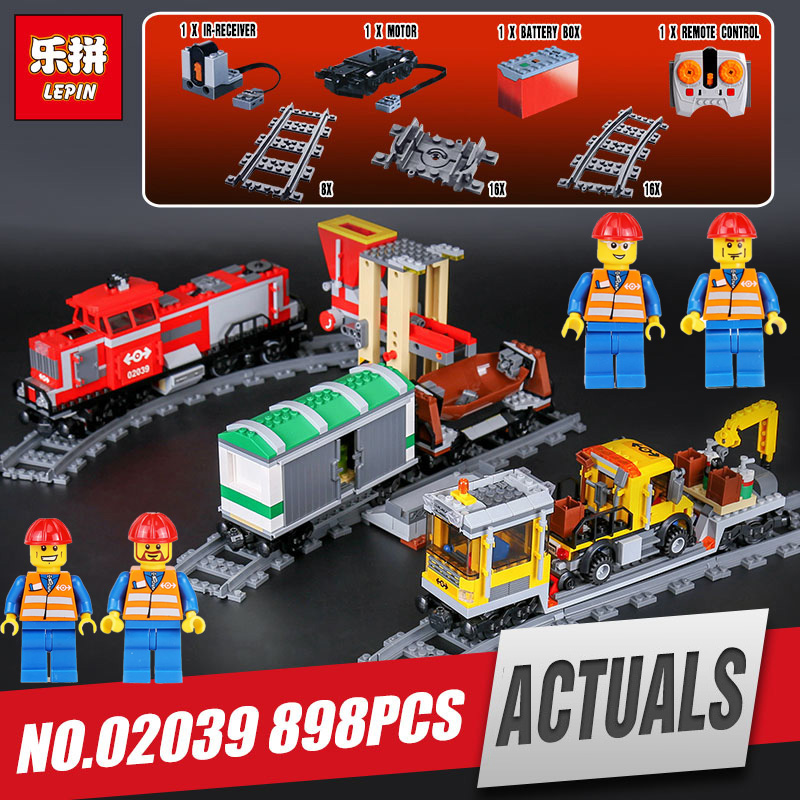 DHL LEPIN 02039 City Series Red Cargo Train Set Children Building Blocks Brick Educational Children Toys Model legoing 3677 a toy a dream lepin 24027 city series 3 in 1 building series american style house villa building blocks 4956 brick toys