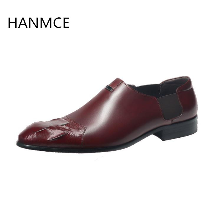 Spring autumn new mens business dress shoes fashion slip on embossed leather wedding shoes men daily casual work shoes black red