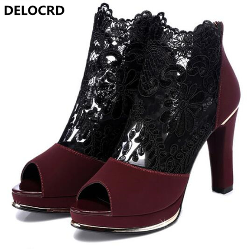 2018 Fashion Sexy Lace Gauze Fish Mouth Shoes Summer New Comfortable Women Sandals Thick With High Heels Casual Cool Boots 34-40 new listing hot sales summer fashion brand sexy women fish mouth high heels sandals women shoes pumps height 9cm 3603
