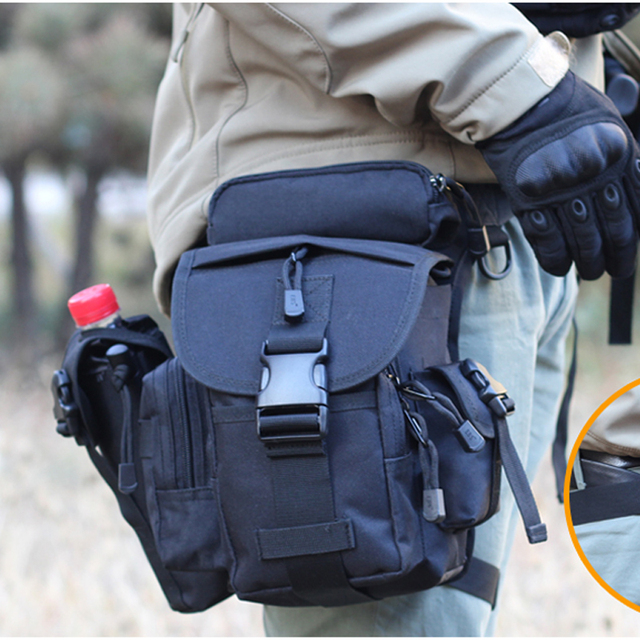 Taktis Cordura Nilon 900D Multifungsi Bahu Militer Tentara Kaki Tas Pinggang Alat Listrik Paha Tas + Ketel Tas
