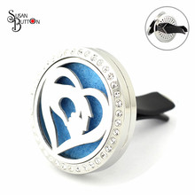 New Mother's day Gifts Rhinestone Love Heart Hand Stainless Steel Aromatherapy Essential Oil Diffuser Perfume Clip Car Locket