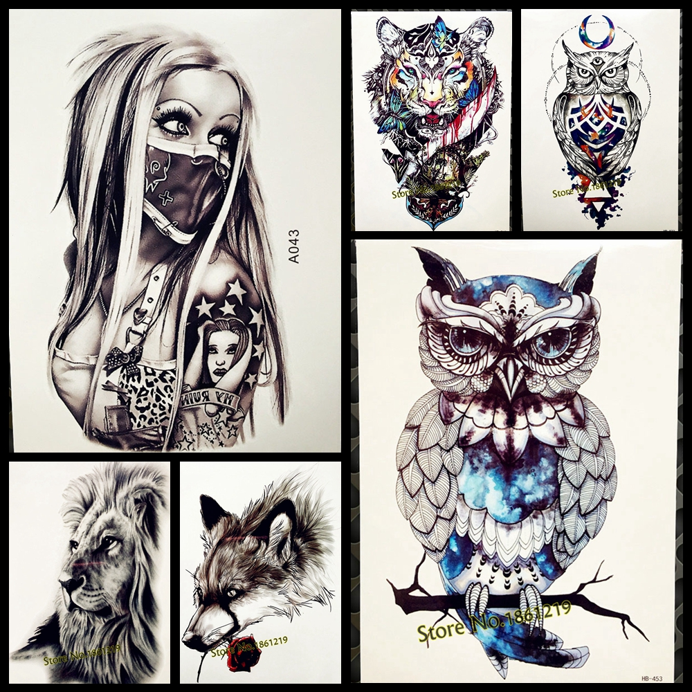 1pc snowy owl hedwig design large arm tattoo sleeve flash for Temporary arm tattoos