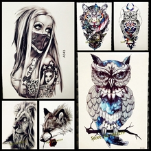 1PC Snowy Owl Hedwig Design Large Arm Tattoo Sleeve Flash Temporary Tattoo Sticker 21x15cm Waterproof Henna
