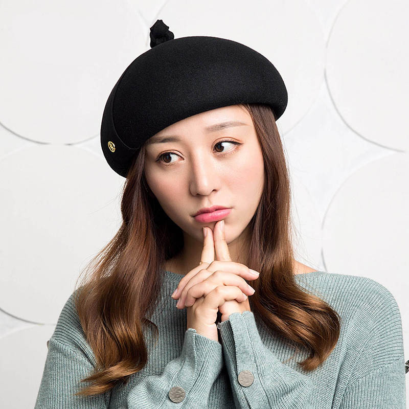2019 New Elegant Female Berets Wool Felt Cap Dome Pumpkin Beret Hats for Women Church Dinner Formal Fedoras