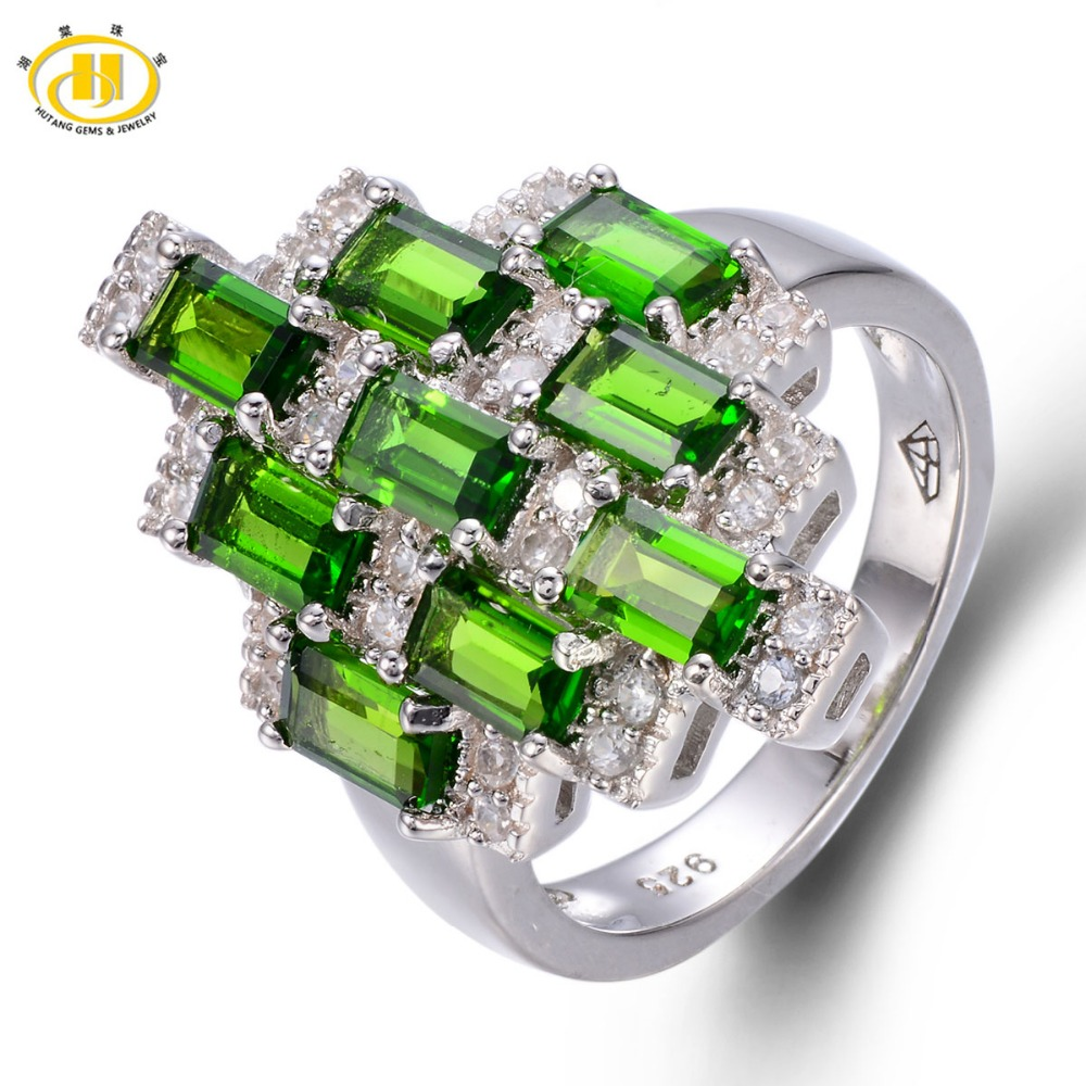 Здесь продается  Hutang 3.131ct Genuine Chrome Diopside Solid 925 Sterling Silver Ring Russian Emerald Gemstone Fine Jewelry For Women