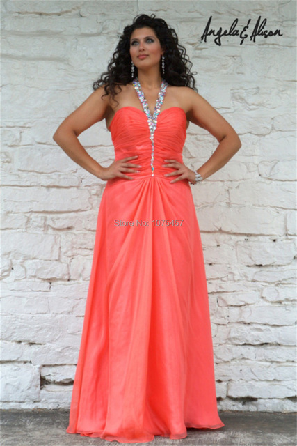 Free Shipping Coral Prom Dresses Plus Size 2014 Halter Neck Party