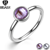 Classic 925 Sterling Silver Rings Poetic Droplet Purple CZ Finger Ring With Glass Stone For Women