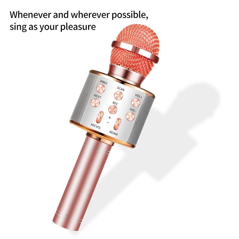 WS 858 bluetooth karaoke mikrofon drahtlose professionelle lautsprecher consender handheld microfone radio mikrofon studio rekord mic