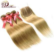 Pinshair Honey # 27 Thick No Tangle Straight 3 Blonde Bundles con cierre de encaje brasileño extensiones de armadura de cabello humano Non Remy