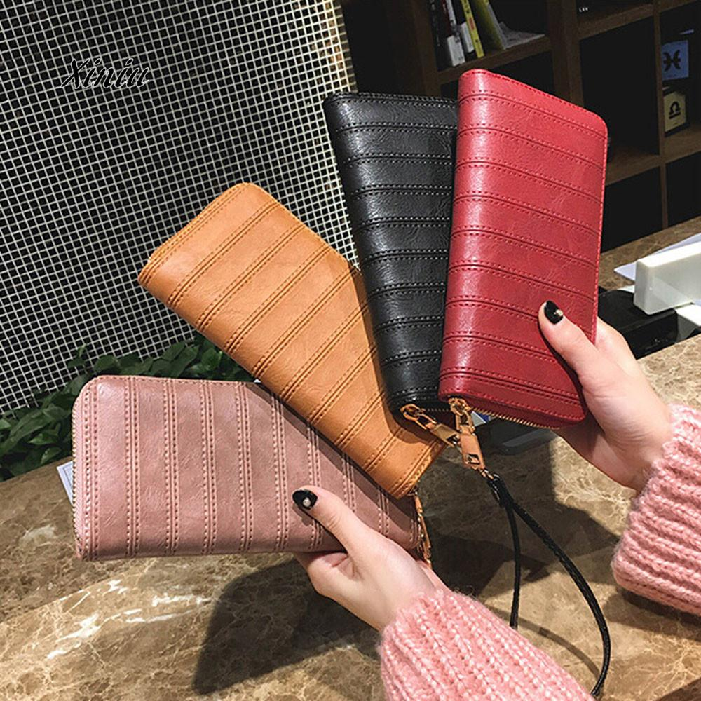 New Fashion Women Leather Wallet Lady Long Design Clutch Phone Bags Female Handbag Zipper Card Holder Coin Purse For Women thinkthendo women leather card phone holder long arrow wallet checkbook tassel handbag purse