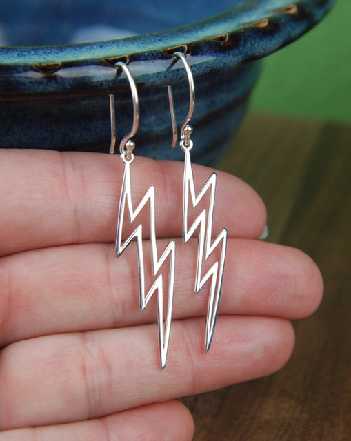 Large Silver Lightning Bolt Earrings Heavens Cloud Nature Weather Cute Women Fashion Earring Studs Christmas Gift