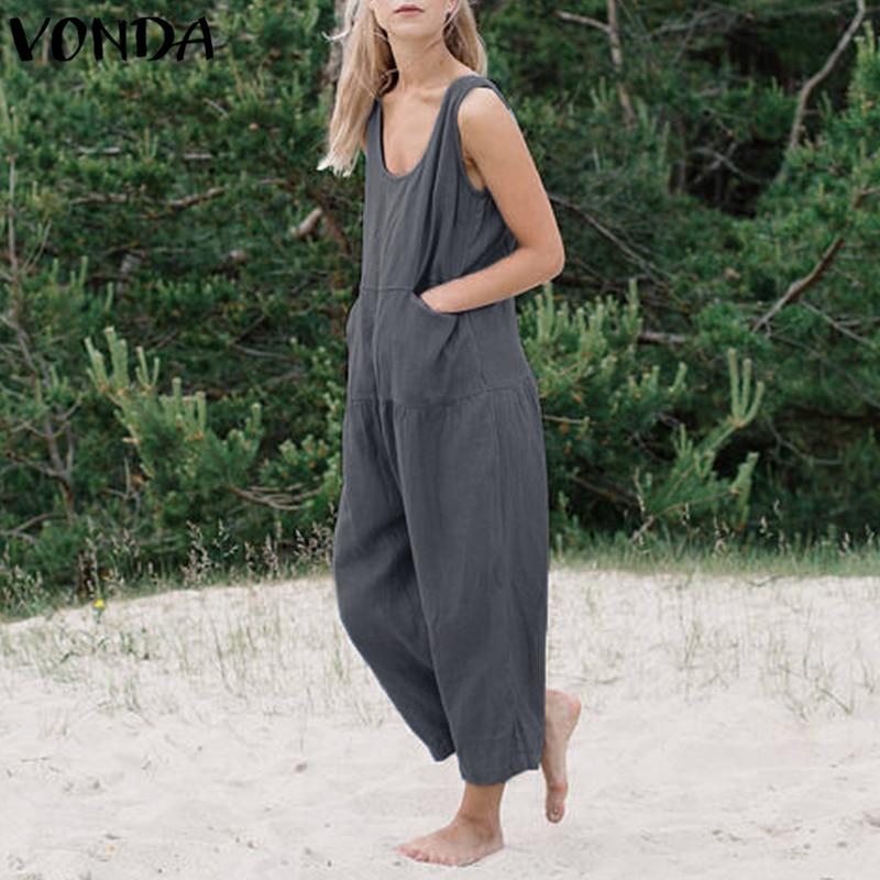 Plus Size Rompers Womens Jumpsuit 2018 Summer Casual Cotton Loose Playsuits Long Wide Leg Pants Plus Size Vintage VONDA Overalls 3