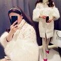 Plus Size Inverno das Mulheres Faux Fox Fur Coats Parkas Espessamento-Alta Quailty Marca de Diamantes de Moda de Luxo Para Baixo Casaco longo Solto