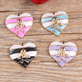 Factory Price Love Heart Pendant Charms 30PCS/Lot Oil Drop Striped Hearts with Skull Head Carved DIY Jewelry Charms Enamel Char