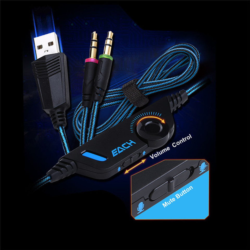 KOTION EACH G2000 Gaming Headset casque Stereo PC Gamer Headphones with Microphone Mic LED Light for Computer Game (6)