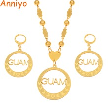 Anniyo Guam Pendant Ball Beads Necklaces Earrings Jewelry sets for Women Stainless Steel and Gold Color Accessories New #072021P gold color stainless steel jewelry sets romantic wedding earrings necklaces for women crystal and opal jewelry