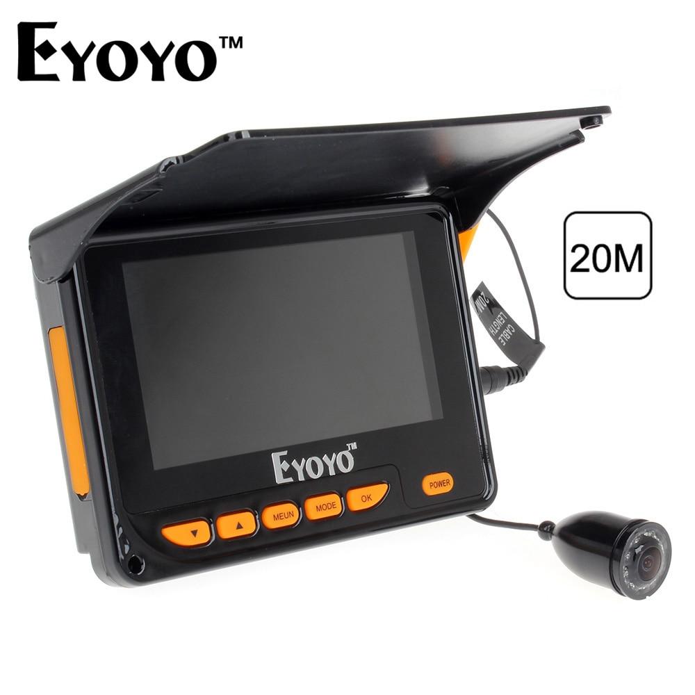 Eyoyo Видео Эхолот Рыбоискатель 20М HD 1000TVL Подводная видеокамера для подледной рыбалки лова с 4.3 ЖК-дисплеем IR LED лампочки 8шт. 150 градусов Угол