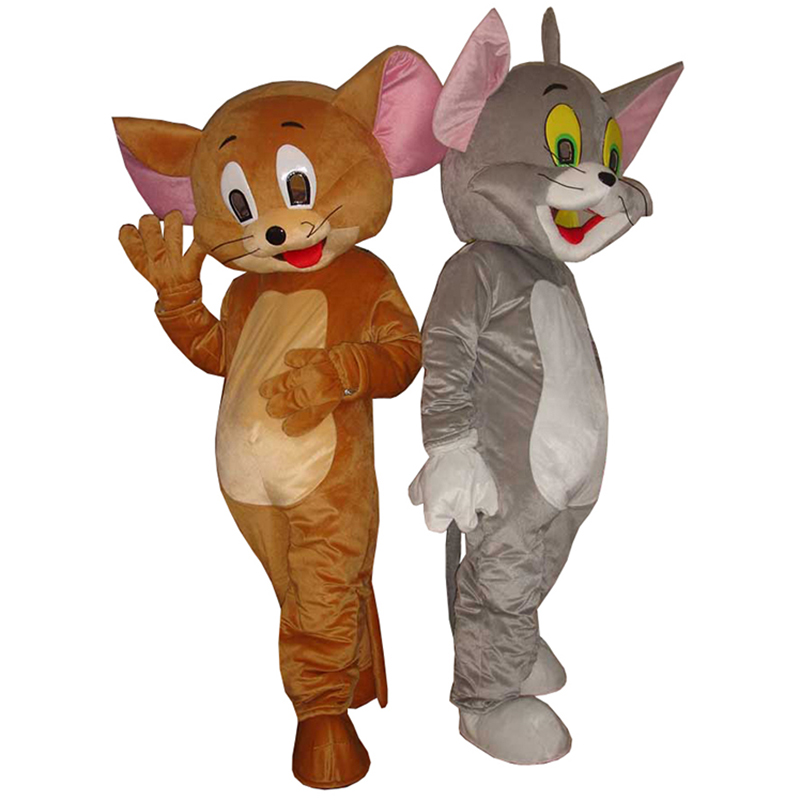2 pçs tom gato e jerry mouse mascote traje adulto tamanho tom gato e jerry mouse mascote traje para festa de carnaval de halloween
