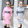 Girls Sweatshirts Cotton Letter T-Shirts For Girls Dresses Turtleneck Plus Velvet Bottoming Shirts Girls Clothing 4 6 8 10 12 Y