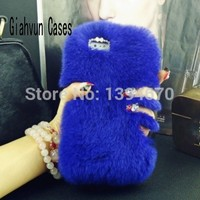 Bling Hot Winter necessary Warm Soft comfort fur Full Rabbit's hair hard phone case For apple iPhone 5C 5 C cover