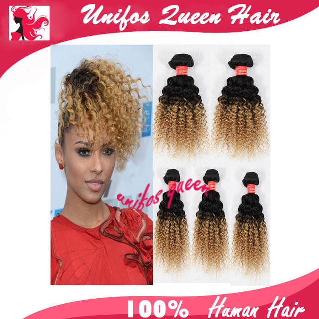 Queen Lady Star Brazillian Curly Weave 5pcs True Glory Hair Ombre Brazilian Two Tone