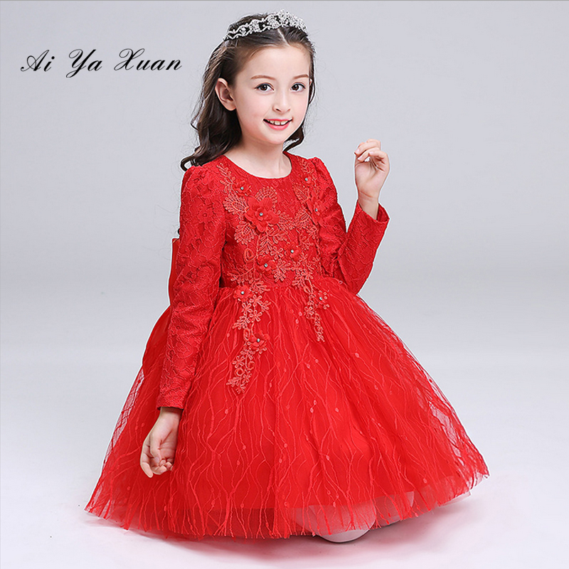 AiYaxuan New Lace Ball Gown Red Flower Girls Dresses Kids Wedding Party Dress long First Communion Dresses For Girls Princess 2018 purple v neck bow pearls flower lace baby girls dresses for wedding beading sash first communion dress girl prom party gown