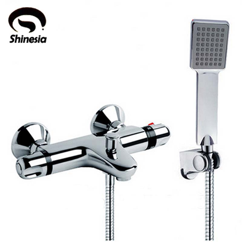 NEW Shower Faucet Set Bathroom Thermostatic Faucet Chrome Finish Mixer Tap W/ ABS Handheld Shower Wall Mounted wall mounted two handle auto thermostatic control shower mixer thermostatic faucet shower taps chrome finish