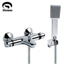 NEUE Dusche Wasserhahn Set Badezimmer Thermostat Wasserhahn Verchromt Mischbatterie W/ABS Handbrause Wand Montiert