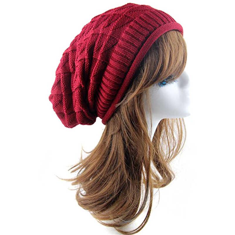 8bc9294172b94 Fashion Rhombus Female Pattern Tricorne Knit Winter Warm Crochet Hat  Braided Baggy Beret Beanie Cap For