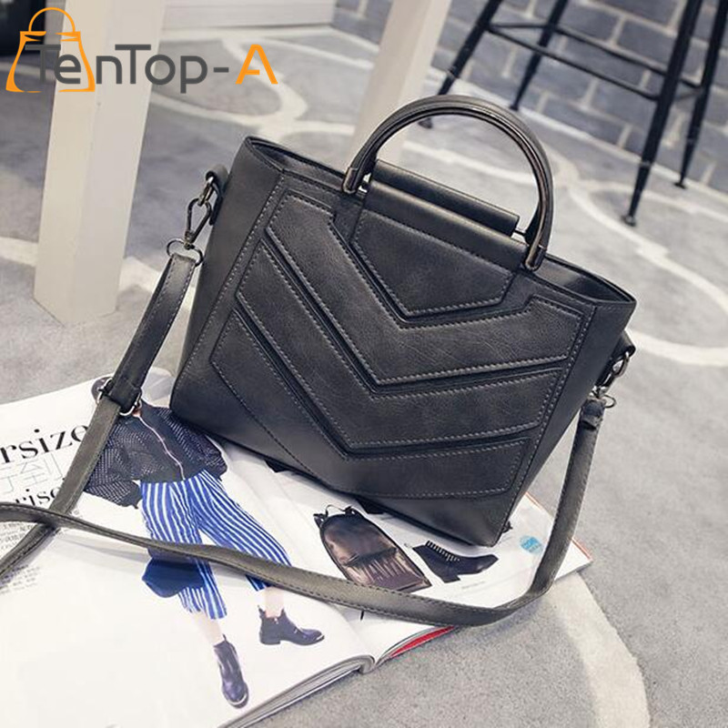 ФОТО TenTop-A Fashion New Brand High-grade Striped Shoulder Bag Women Casual PU Leather Large Capacity Tote Female Daily Use Handbags