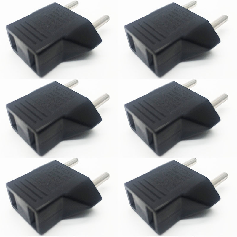 6pcs lot Portable EU Adapter Plug USA to Euro Europe Wall Power Charge Outlet Sockets US
