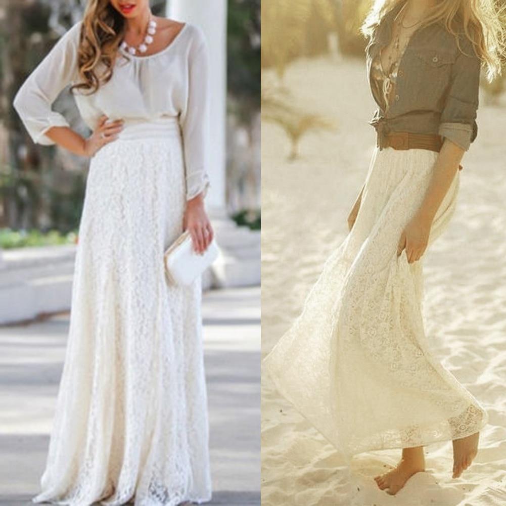 Natural Elastic Waist Lace Skirt Saia Solid Color Hollow Pattern White Beige Long Skirt Romantic 2017 Summer Womens Skirt New