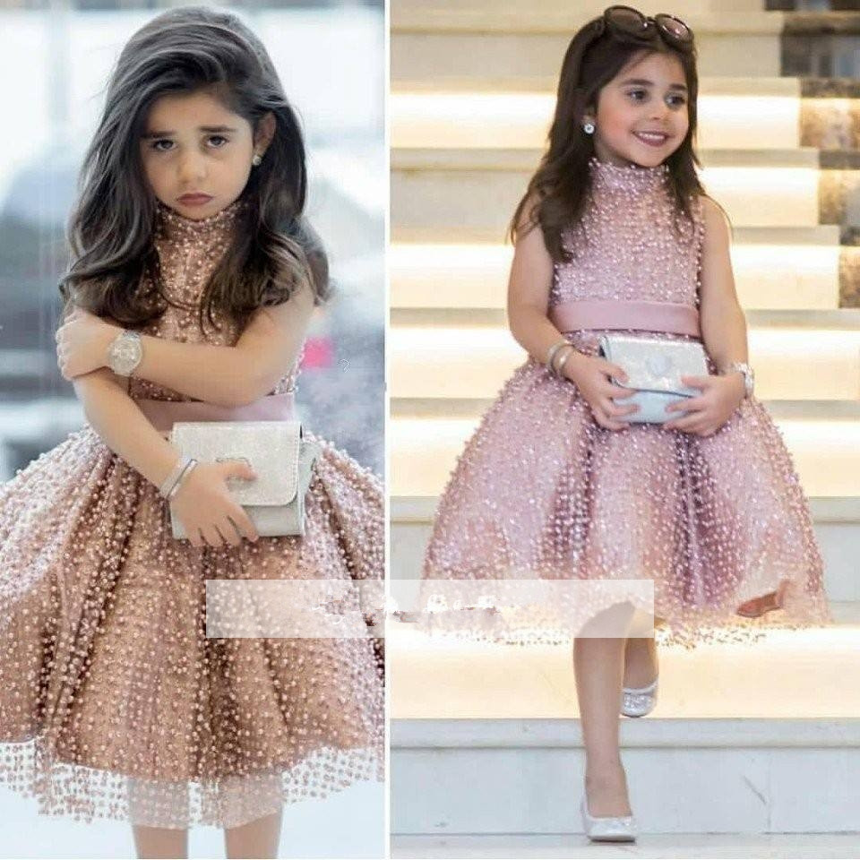 Pink 2019 Flower Girl Dresses For Weddings Ball Gown Hig Collar Tulle Pearls First Communion Dresses For Little Girls