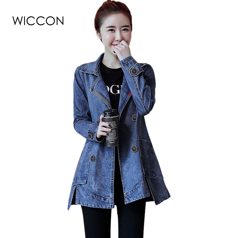 Asymmetry Slit Side Denim Women Coats Double Breasted Jeans   Trench   Coat Casual Casaco Ripped Windbreaker Women   Trench   WICCON