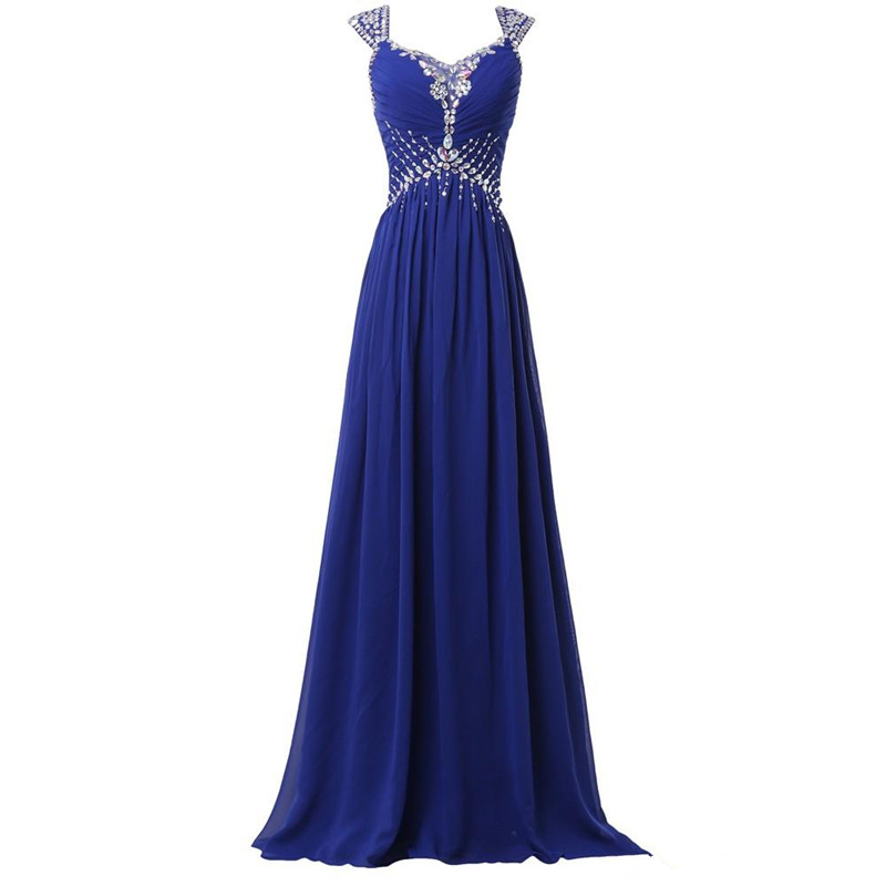Holievery Beaded Long Chiffon   Bridesmaid     Dresses   with Cap Sleeve 2019 Royal Blue Wedding Guest   Dress   Robe Demoiselle D'Honneur