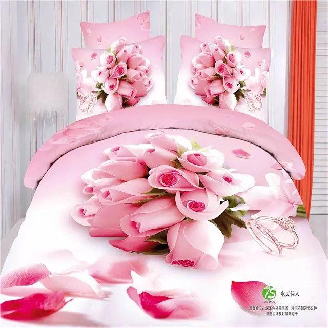 Bedding Dashing 3d Chinese Wedding Bedding King Size 220 X240cm 100% Cotton Bedding Sets 4pc,500tc 3d Pink Rose Princess Girls Bed Sheet Sets